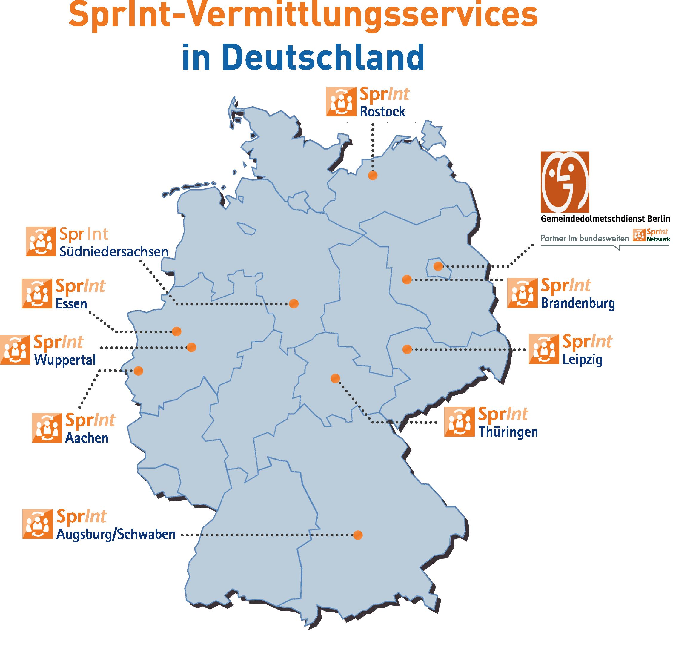 Verteilungskarte der SprInt-Projekte in Deutschland