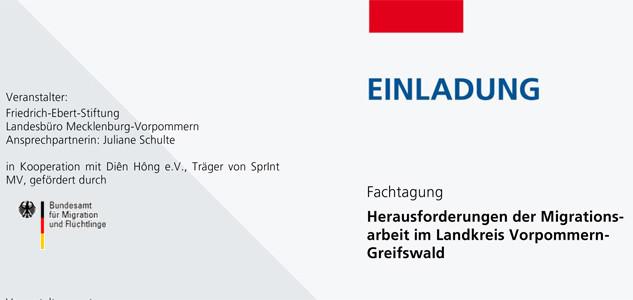 """Einladung zur Tagung """"Herausforderungen der Migrationsarbeit im Landkreis Vorpommern-Greifswald"""" am 2. Juli 2014 in Greifswald"""