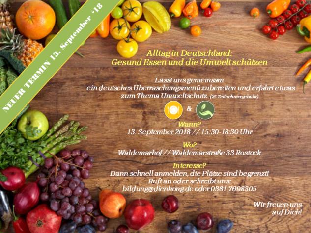 """!!!Achtung!!! """"Seminar Alltag in Deuschland: Gesund Essen und die Umwelt schützen"""" wird auf den 13. September verschoben"""